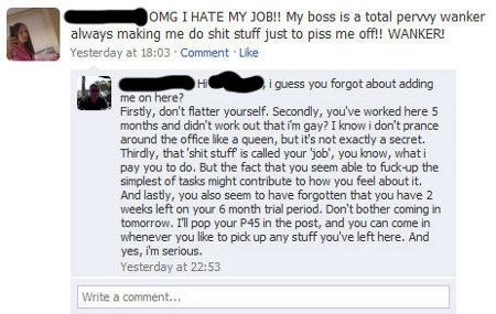 critiquer sont travail sur facebook peut mener au licenciement